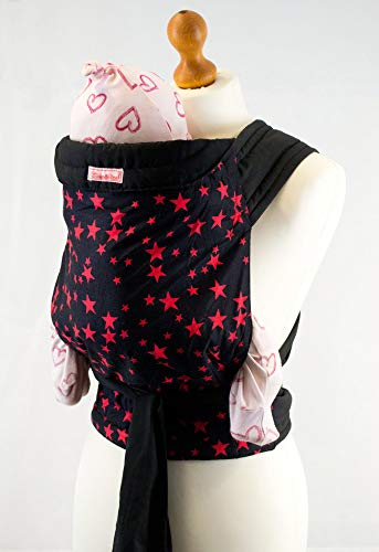 - Palm & Pond Baby Mei Tai Sling - Black with Red Stars Pattern