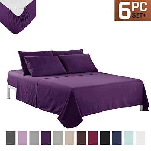 Sfoothome Bed Sheet Set With 4 Sheet Clips - Deep Pockets - 2 Extra Pillow Cases - Wrinkle,Fade,Stain Resistant - 6 Pieces ( King (2 Piece Pillow Set)
