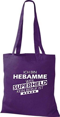 Shirtstown Stoffbeutel Ich bin Hebamme, weil Superheld kein Beruf ist lila