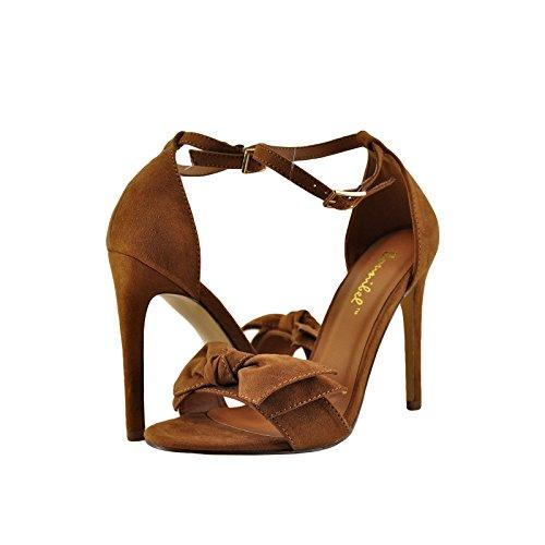 Bow Tie Open Toe (Women's Bow Tie Open Toe Ankle Strap Stiletto High Heel Open Toe Sandal Shoes (9, Tan))