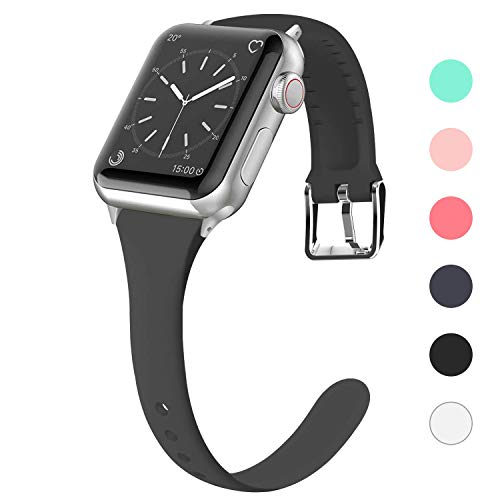 Lwsengme Compatible for Apple Watch Band 38MM 40MM 42MM 44MM, Silicone Slim Women iWatch Bands Wristband Compatible for Apple Watch Series 4 3 2 1 (Black, 38MM/40MM)