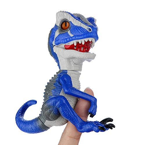 Funny Toys for Kids Finger Dinosaur Intelligent Sensor Interactive Collectible Fingerlings Friends (Blue)