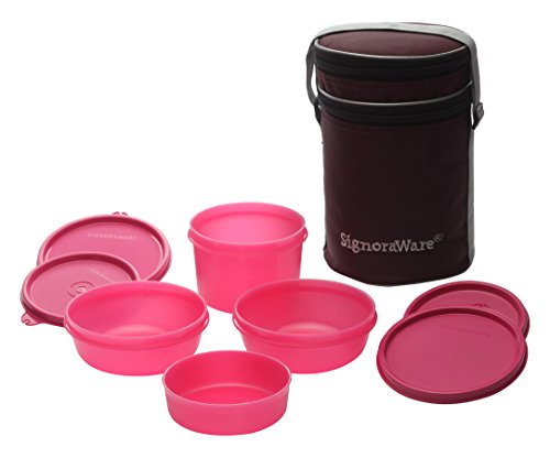 Signoraware Perfect Lunch Box with Bag, 15cm, Pink