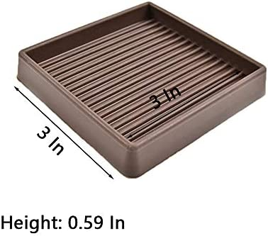 VOCOMO 3X3 Square Rubber Furniture Caster Cups with Anti-Sliding Floor Grip Brown, 4 Pack