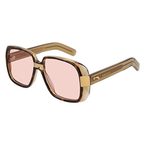 Gucci GG 0318 S- 003 HAVANA/PINK GREEN (Pink Gucci Sunglasses)