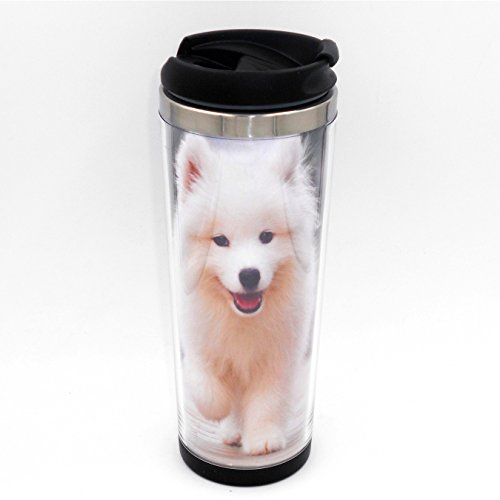 (Boyan Diy Mug Creative Cup Samoyed Dog Puppy Walking Travel Water Tea Milk Coffee Cup for Unisex Adults Stainless Steel 20 Cm 14 Oz)