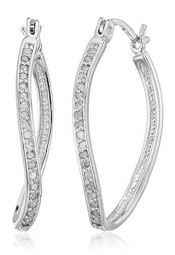 Vir Jewels 1/4 cttw Diamond Hoop Earrings .925 Sterling Silver 1 - Hoop Dangle Diamond