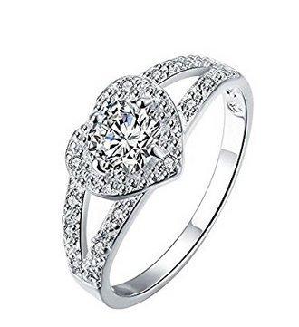 En forma de corazón anillo de diamante anillos de boda 7 m: Amazon.es: Hogar