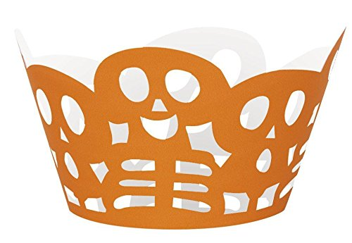 Die Cut Orange Skeleton Halloween Cupcake Wrappers, 12ct (Pumpkin Cut Outs Halloween)