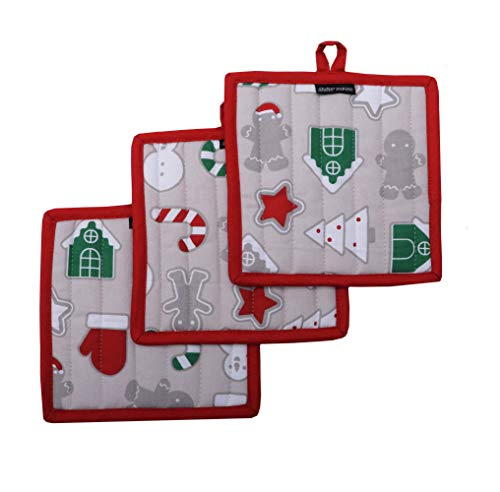 Amour Infini Pot Holders, Christmas Fun Design, Pot Holders Heat Resistant, Made of 100% Cotton, Eco-Friendly & Safe, Set of 3, Pot Holder Size 8 x 8 inches, Pot Holders for Kitchen