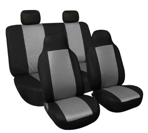FH FB102114 Full Set Classic Cloth Car Seat Covers Gray Black Color Fit Most Truck Suv Or Van