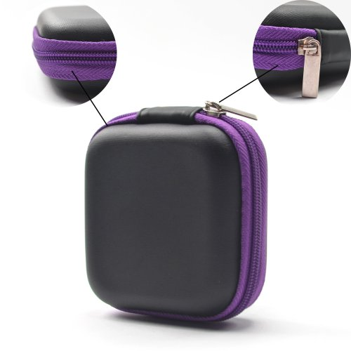 Case Star ® Black Color Square Shaped Carrying Hard Case Storage Bag for MP3/MP4 Bluetooth Earphone Earbuds with Mesh Pocket, Zipper Enclosure, and Durable Exterior+ Case Star Velvet Bag (Square Earphone Case - Black/Purple)