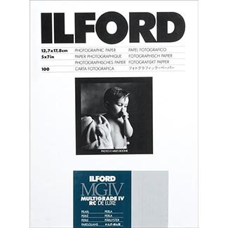 Ilford Multigrade IV RC Deluxe MGD.44M Black and White Variable Contrast Paper (5 x 7 Inches, Pearl, 100 Sheets) (1771019)