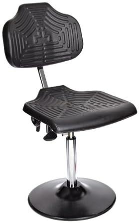 "Milagon Brio 12 Series WSP1210TPU Polyurethane Foam Seat on Enamel Disc Base Chair with Edging, Low Profile, 17""-24"" Adjustment Height"