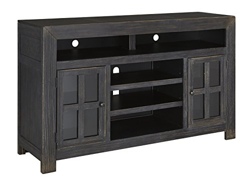 Ashley Furniture Signature Design - Gavelston TV Stand - Electric Fireplace - Entertainment Console - 61 in - Black (Real Flame 72 Tv Stand With Electric Fireplace)