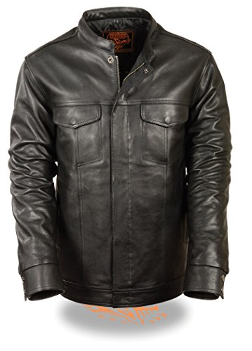Men's SOA Leather Shirt Jacket w/ Dual Inside Concealed Weapon Pockets in Naked Cowhide (X-Large)