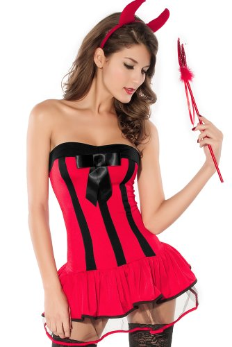 DarlingLove Women's 3PC 7 Styles Sexy Devil Costume Red LC8134