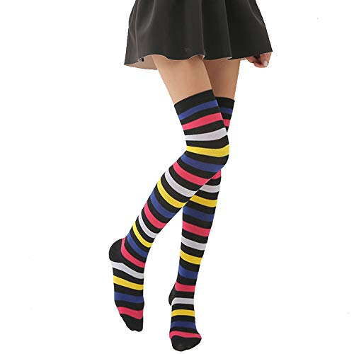 Womens Girls Long Striped Rainbow Over Knee Thigh High Socks Funny Crazy School Party Cosplay Custume Stockings, Dark -