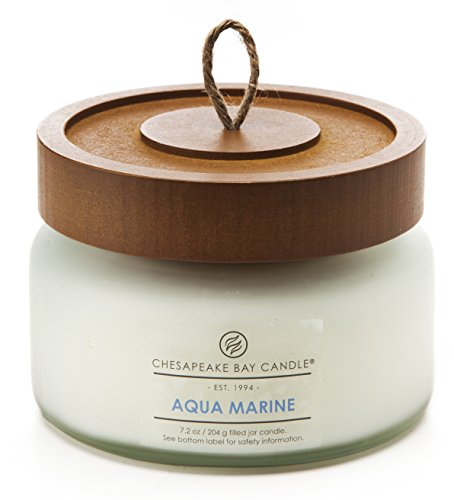Chesapeake Bay Candle Heritage Collection Small Glass Jar Scented Candle With Lid  Aqua Marine