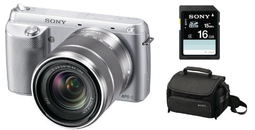 Sony NEX-F3K/S 16.1 MP Compact System Camera with 18-55mm Lens (Silver), 16 GB SD Card and Case ()