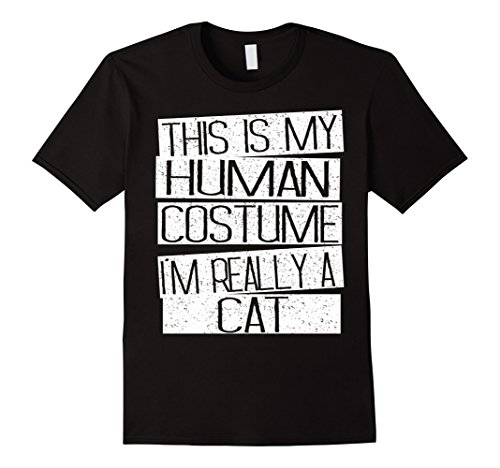 Mens This Is My Human Costume I'm Really A Cat Shirt Large Black -
