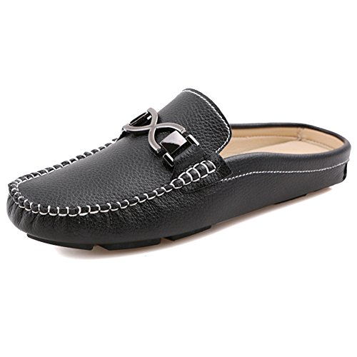 Santimon Mens Buckle Leather Slippers Slip-on Loafters Shoes Leisure Loafers Black 0mjdnB8