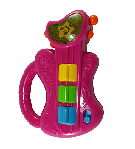 Mini Musical Guitar, Baby Toys, Musical Toys, Infant Toys, Toy with Music and Lights for Baby, Educational Toy, Baby Gift, 3 months and up, Pink -