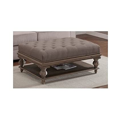 Ottoman Storage Bench, Grey Tufted Ottoman Coffee Table Bench And Shelf For  Storing Living Room