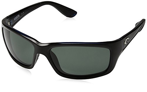 Costa del Mar Men's Jose Polarized Oval Sunglasses, Shiny Black Frame Gray Glass-W580, 61.4 ()