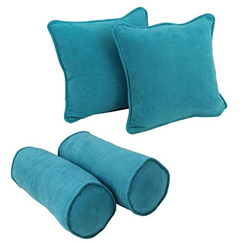 Blazing Needles 9818-S4-CD-MS-AB Double-Corded Solid Microsuede Throw Pillows with Inserts, Aqua Blue, Set of 4 ()