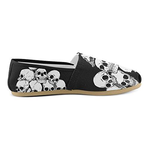 D-etasjers Mote Joggesko Leiligheter Cool Skull Kvinners Klassiske Slip-on Canvas Sko Loafers
