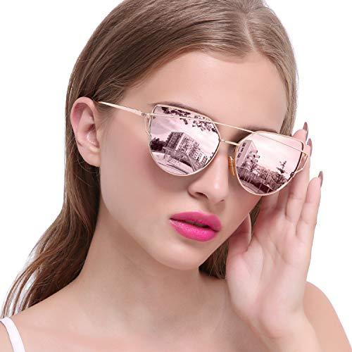 Joopin Cateye Sunglasses for Women, Metal Frame Flat Lens Womens Sunglasses Polarized