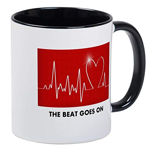 (The Beat Goes On - Funny Post-Heart Surgery Mug - Ceramic 11oz RINGER Coffee/Tea Cup Gift Stocking Stuffer )