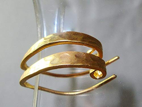 Bulk 6 pcs - Gold Vermeil Over 925 Sterling Silver Solid Artsy Hammered Elegant Sexy Earwire, EW-0022