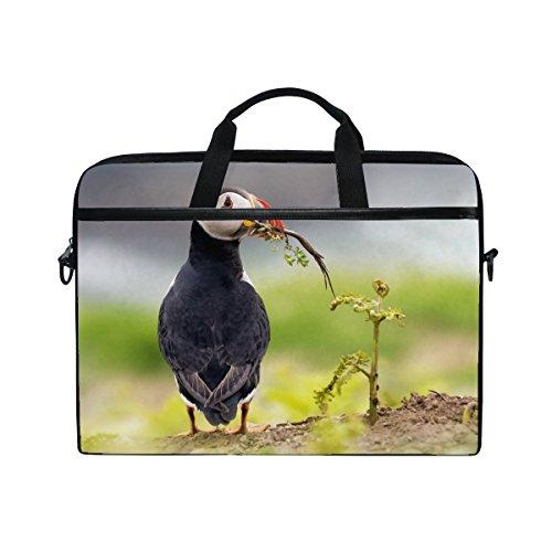 Bird Pafin Deadlock Grass Laptop Shoulder Messenger Bag Case Sleeve For 14 Inch To 15.6 Inch With Adjustable Notebook Shoulder Strap