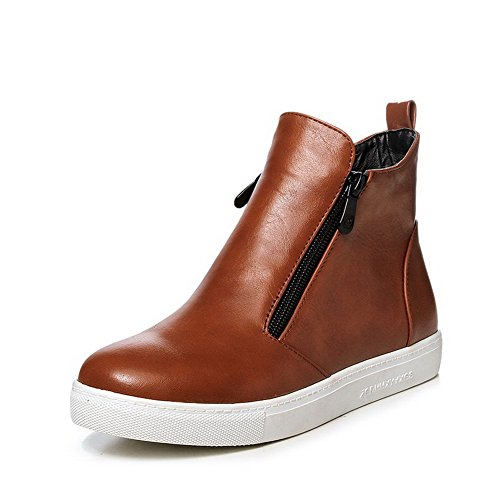Boots top Toe Solid Womens Round Brown Material AllhqFashion Heels Low Soft Closed Low OznOP