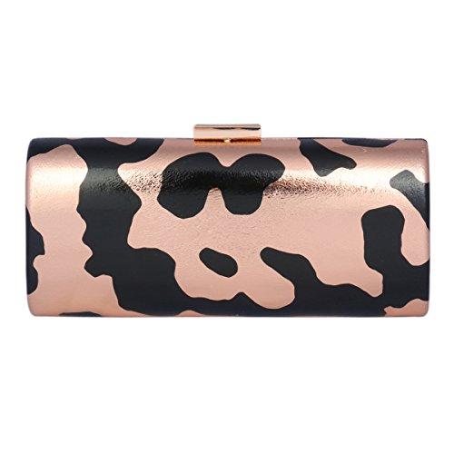 Bouton Camouflage de Rectangle Couleur Soirée Champagne Femme Damara Cuir PU Sac Champagne Pression FwqzzX