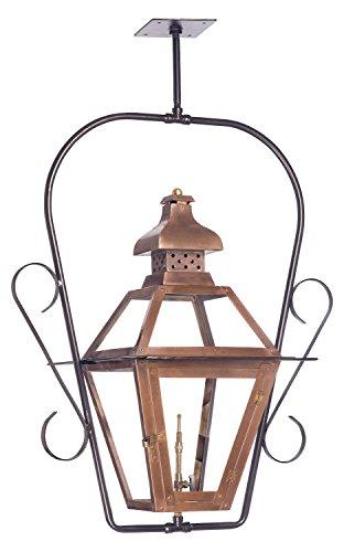 Bayou Outdoor Gas Ceiling Lantern In Aged Copper (Bayou Gas Lantern)