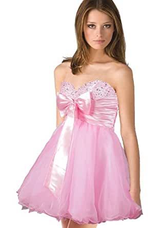 Faironly N-xm3 Short Length Party Prom Cocktail Mini Dress (L, Pink)
