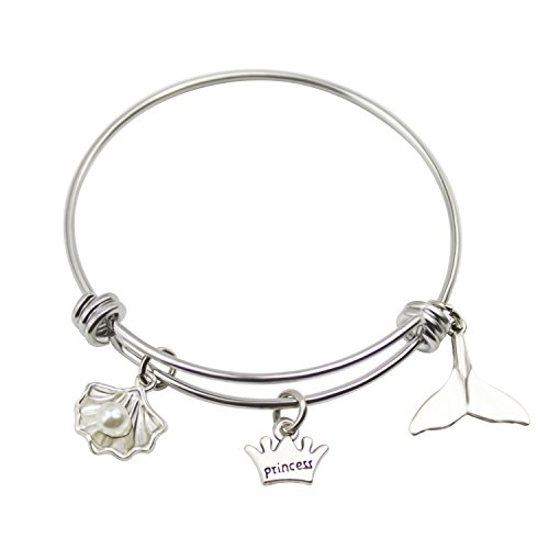Princess Bangle - Zizh Princess Bracelet Stainless Steel Expandable wire Bangle for Little Girl Baby (Princess-shell)