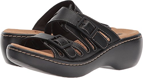 CLARKS Women's Delana Liri Platform, Black Leather, 7 Medium US