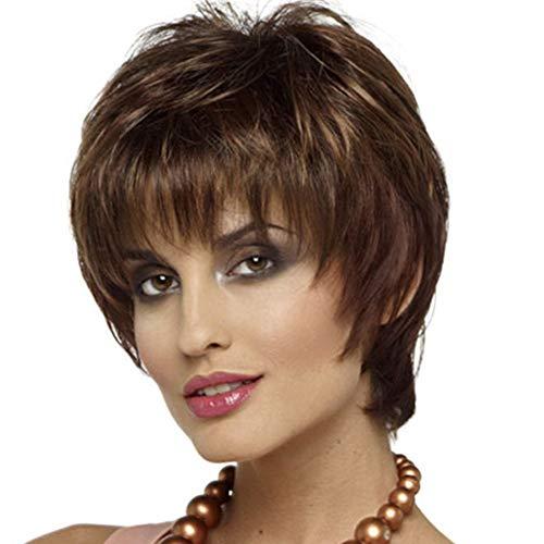 LHT Peluca de Pelo ondulado Corto, peluca Corta marrón Destacados pelucas mullidas rizadas cortas para Mujer peluca de Pelo Bob de Color marrón Oscuro aspecto Natural resistente al calor sintético ()