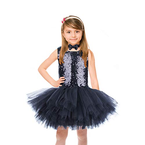 Fulu Bro Black Sequin Tutu Dress Girls Sleeveless Tulle Party Dress with Bow Tie for Special Occassion Party Wedding Dancing, 8T (Suit for 6-7years)