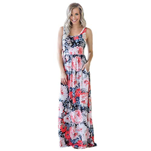 (Women's Summer Boho Sleeveless Floral Print Tank Long Maxi Dress Party Dresses Ethnic Style Plus Size with Pockets)