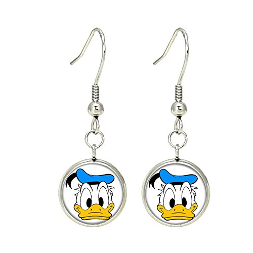 Donald Duck Dangle Earrings Silvertone Premium Quality TV Micky Mouse Club House Comics Movies Cartoons ()