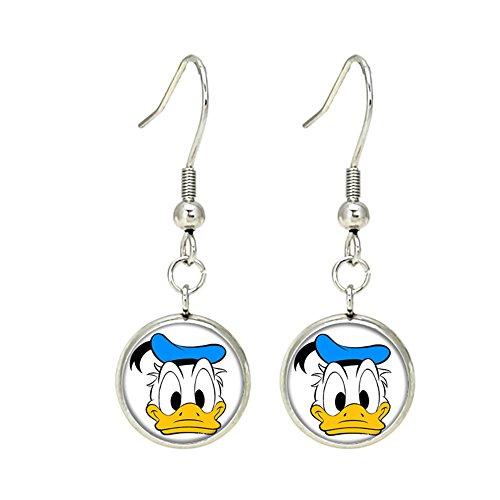 Donald Duck Disney Dangle Earrings TV Micky Mouse Club House Comics Movies Cartoons Superhero Logo Theme Premium Quality Detailed Cosplay Jewelry Gift Series (Dangle Donald Duck)