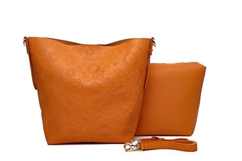 1 2 Bolsos mimbre o bolsos Bolsos Naranja MAMBO bolsos bolsos grandes sintético hobo efecto hombro beige bandolera al mujer shopper Flores en bolsos zHqHFn0p7A