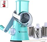 LOYALMASTER Rotary Cheese Grater - Manual Mandoline Slicer Grinder - Round Drum Shredder for Vegetable, Food, Carrot, Salad, Nut Chopper - 3 Stainless Steel Drums - Strong Suction Base