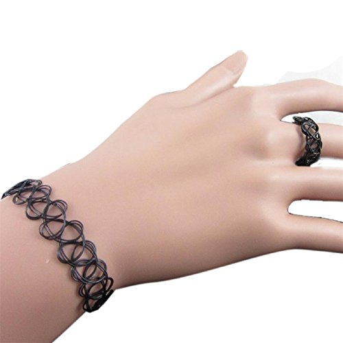 Tonsee Stretch Tattoo Choker Necklace Set (Black)
