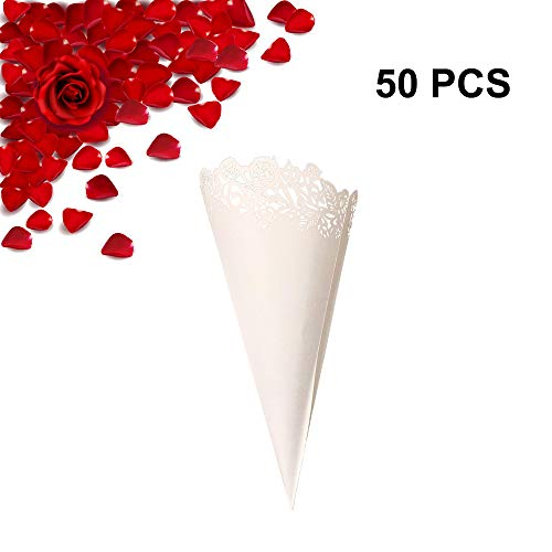 50PCS Wedding Paper Confetti Cones Hollow Print DIY Petal Toss Lace Cones Wrappers Surrounding Edge Candy Flower Plate Party Confetti Cones with Double Side Adhesive Tape by Giveme5 (Small Rose)
